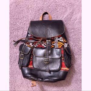Vintage Leather & Tapestry Backpack